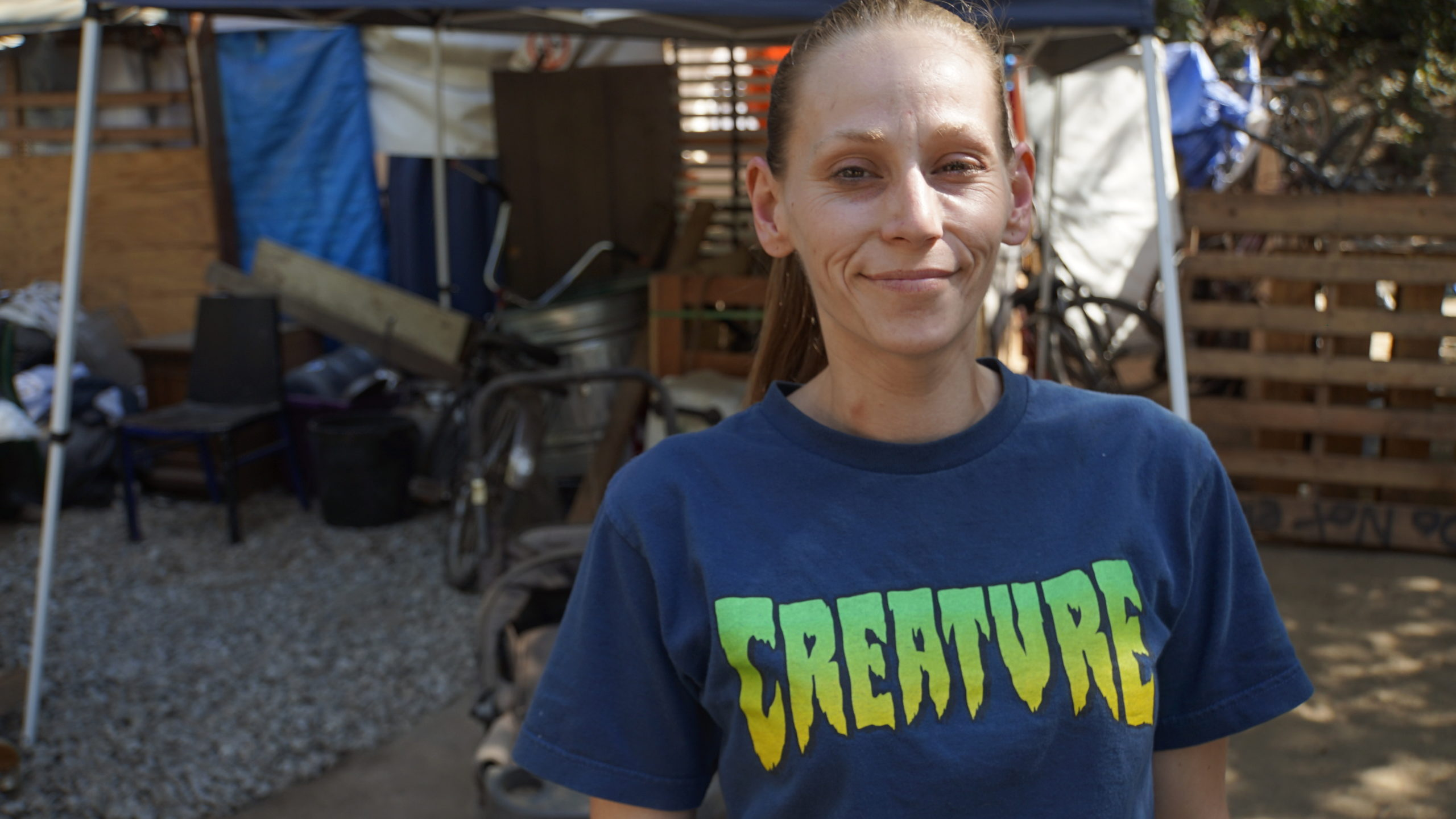 Brittany Shay, a resident of Camp Paradise in Santa Cruz