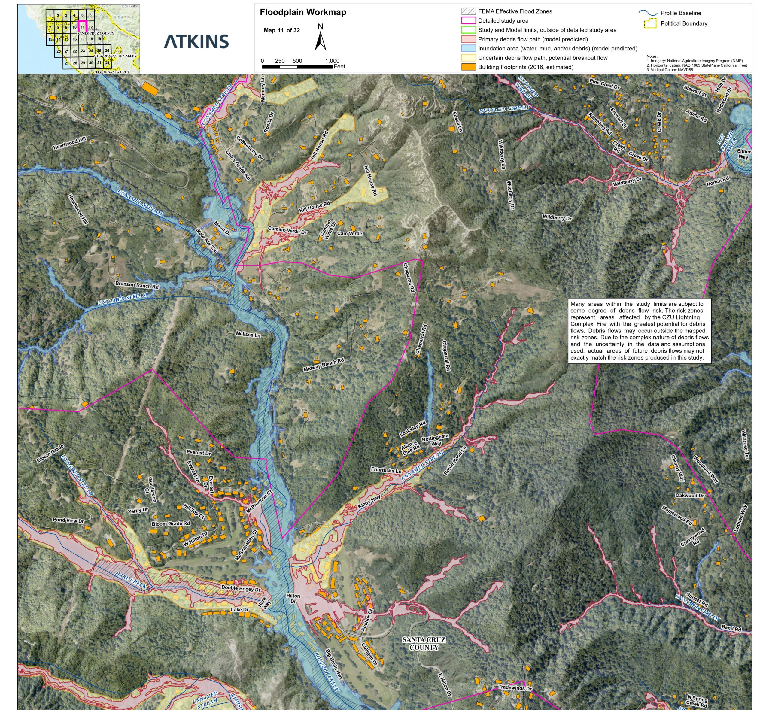 map of potential debris flow areas in Santa Cruz Mountains