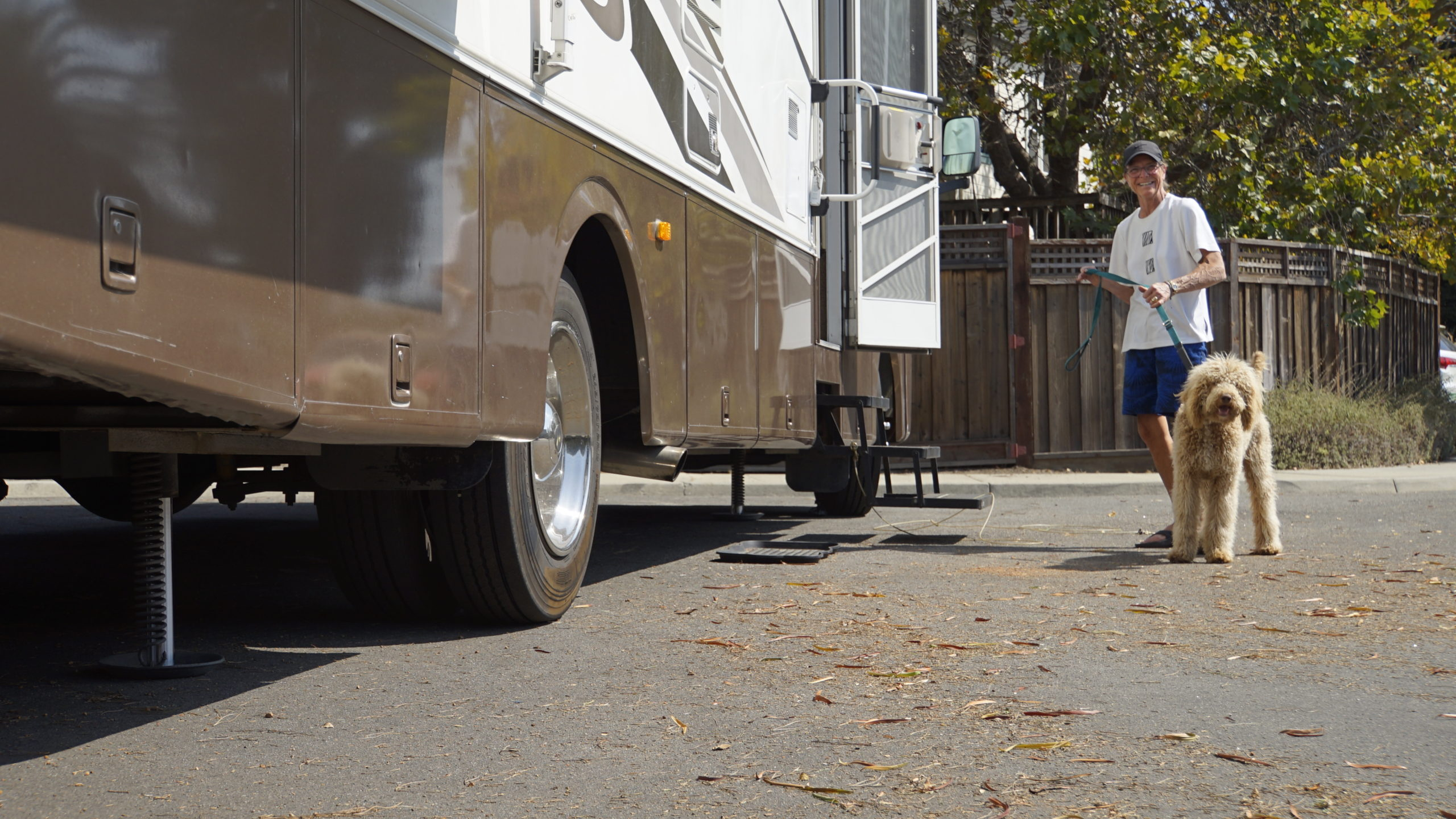 Jana Monson stands by her RV in Santa Cruz