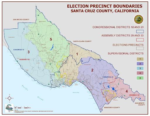 Supervisorial district map Santa Cruz County