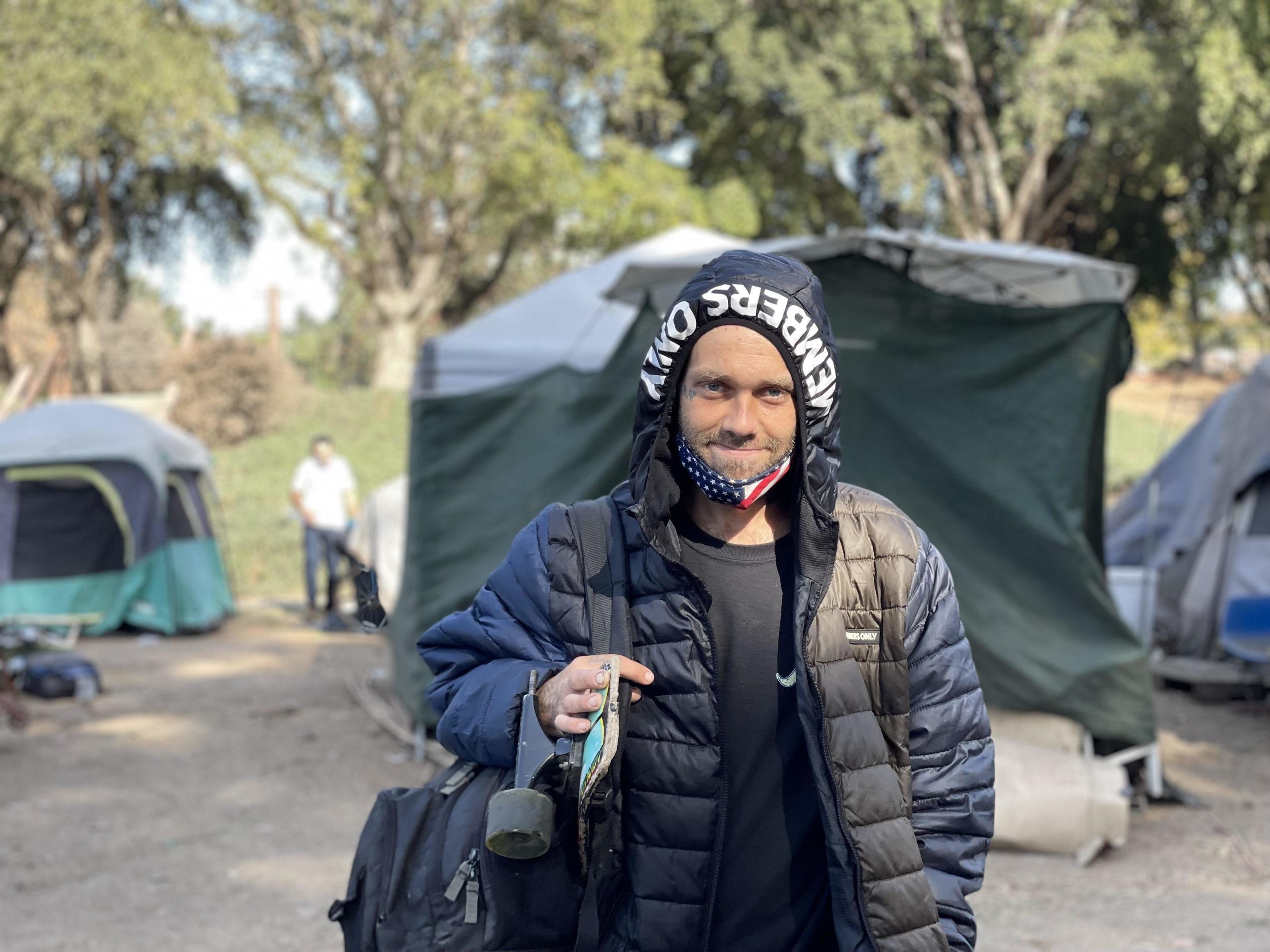 Matthew Hendrix at the Benchlands homeless camp in Santa Cruz