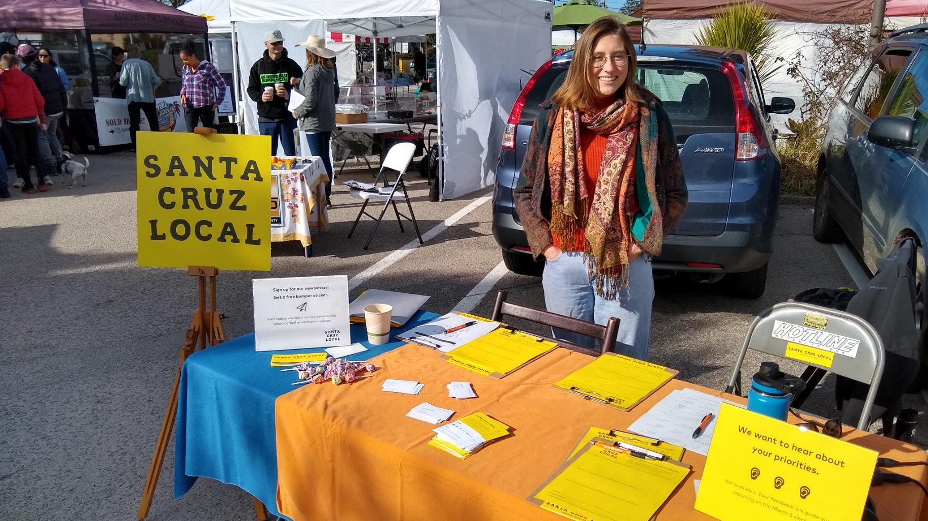 Natalya Dreszer at the Santa Cruz Local table at the Live Oak Farmers Market